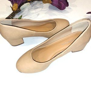 CityClassified Tan Block Heel Pumps Round Toe